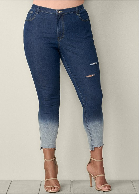 99078755363f5 Dark Wash OMBRE RIPPED JEANS from VENUS