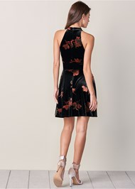 Back View Velvet Floral Print Dress