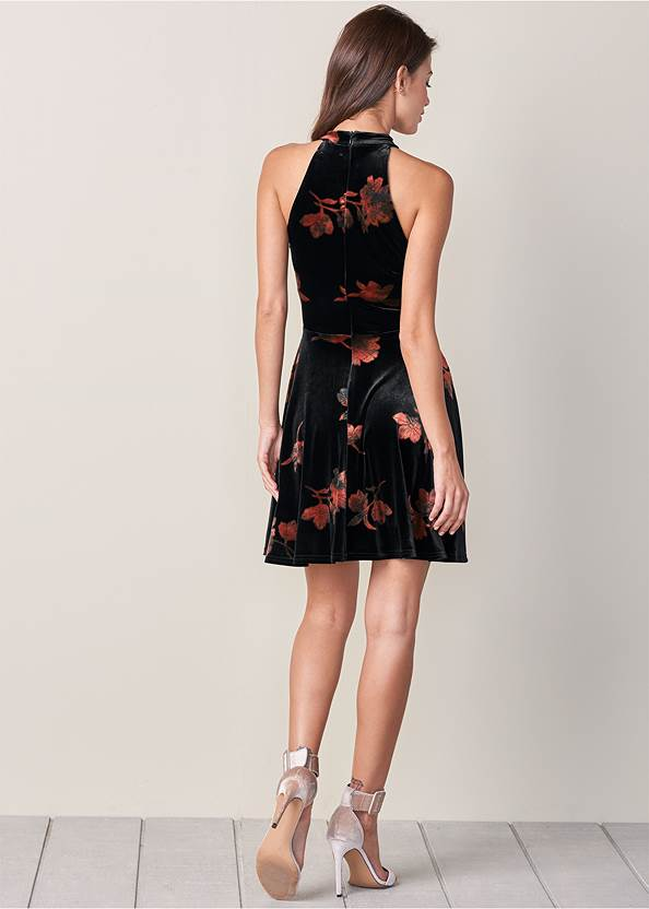 Back View Velvet Floral Print Dress