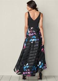Back View Printed High Low Hem Dress