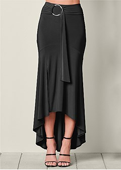 sash detail high low skirt