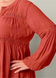 Alternate View Button Up Lace Inset Blouse