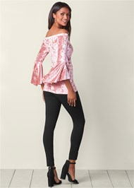 Back View Velvet Trumpet Sleeve Top