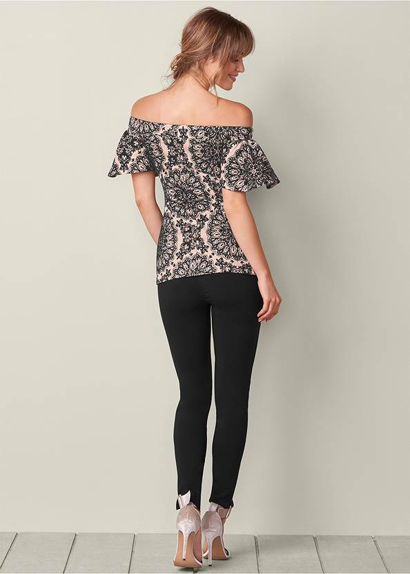 Back View Flocked Ruffle Sleeve Top
