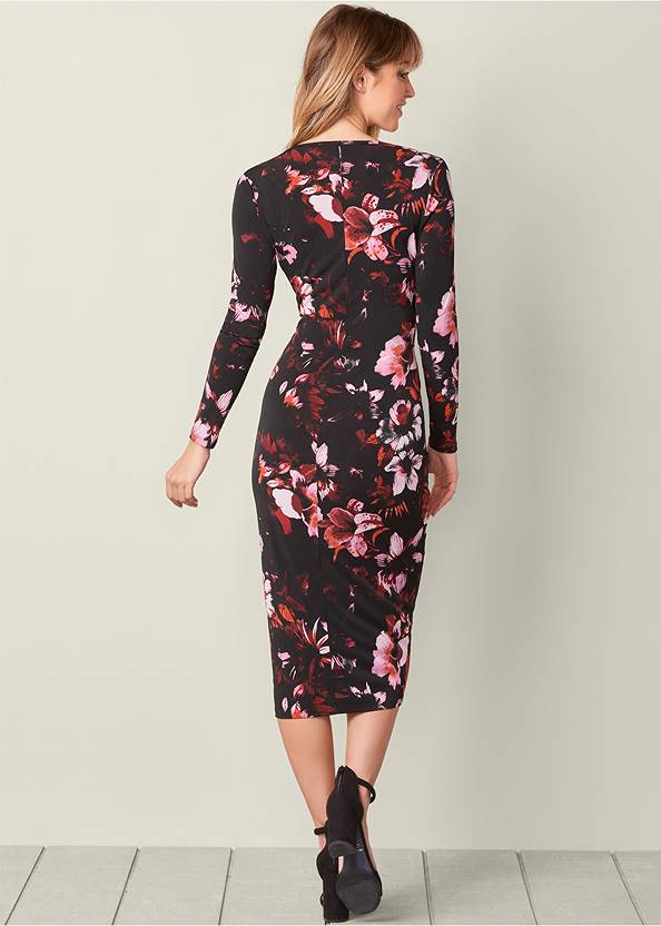Back View Floral Dress With Slit
