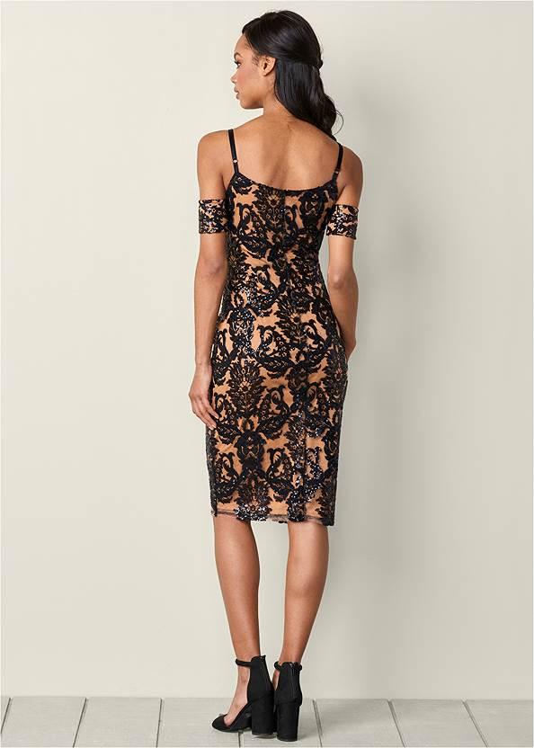 Back View Sequin Cold Shoulder Dress