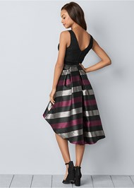 Back View Lace Stripe Cocktail Dress