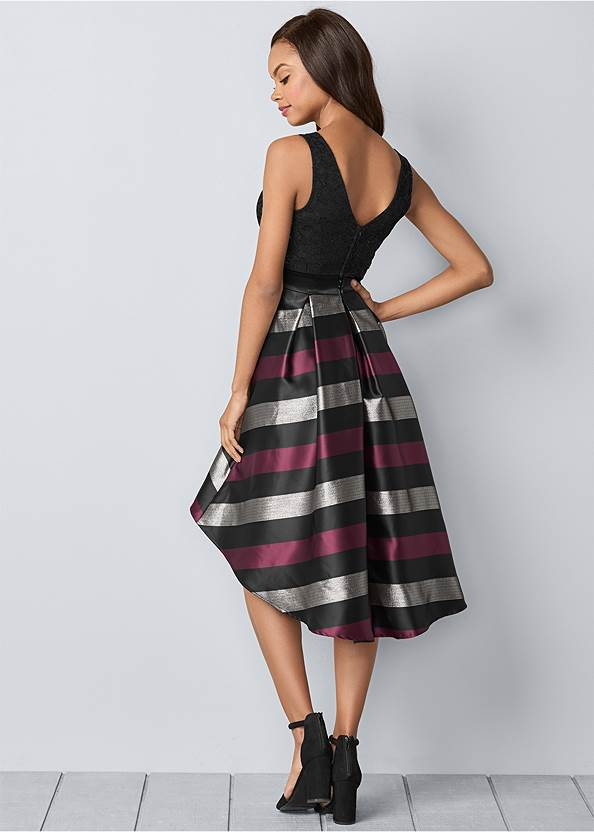 Back View Lace Stripe Cocktail Dress