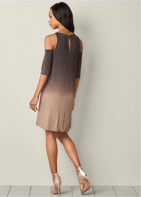 Back View Cold Shoulder Glitter Dress
