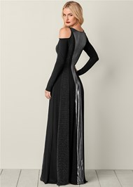 Back View Metallic Long Dress