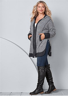 plus size tunic length zip up hoodie