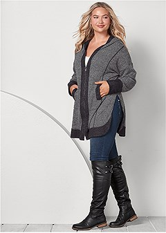 f80d0b764086a TUNIC LENGTH ZIP UP HOODIE in Grey   Black