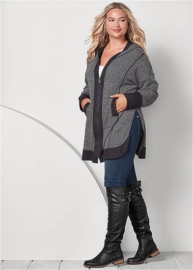 Plus Size Tunic Length Zip Up Hoodie Jacket