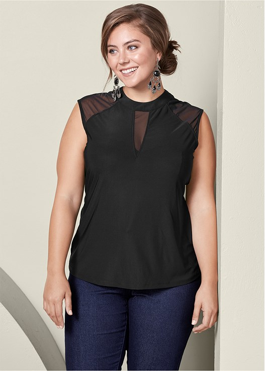 dd9824a60af Plus Size MESH INSET CAP SLEEVE TOP