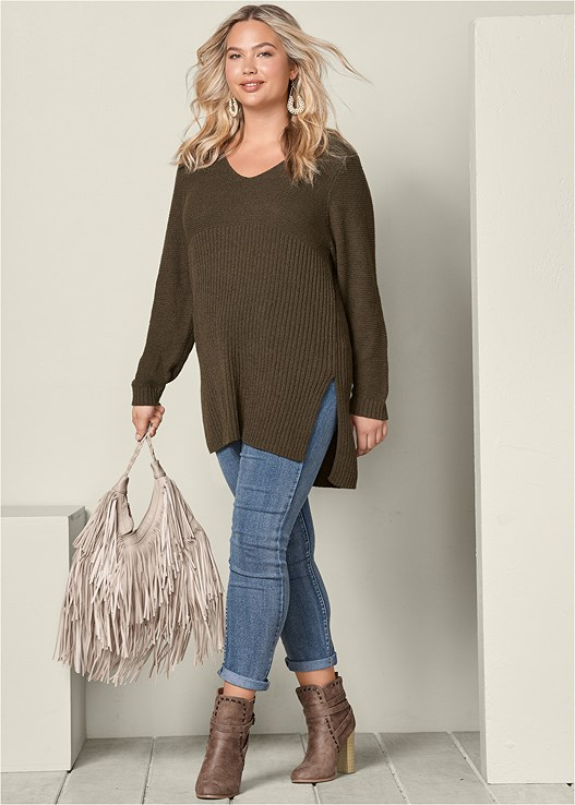 f558a597738 Plus Size HIGH SLIT TUNIC SWEATER in Olive
