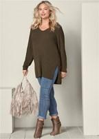 plus size high slit tunic sweater