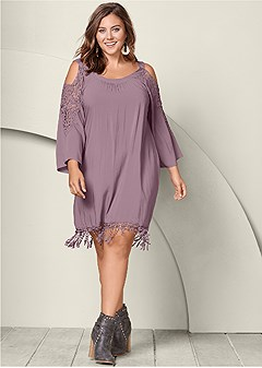 plus size lace trim dress