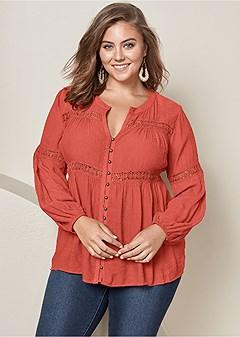 plus size button up lace inset blouse