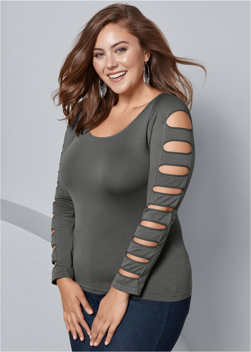 Cut Out Long Sleeve Top,Mid Rise Color Skinny Jeans,Faux Suede Pointy Booties,Tie Back Boots