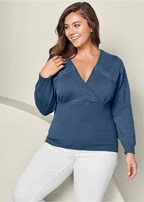 plus size lacing detail sweater