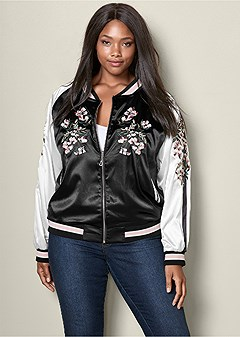 plus size reversible bomber jacket