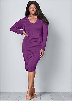 plus size dress with faux shrug