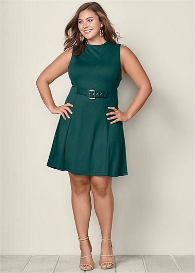 Plus Size Buckle Detail Swing Dress