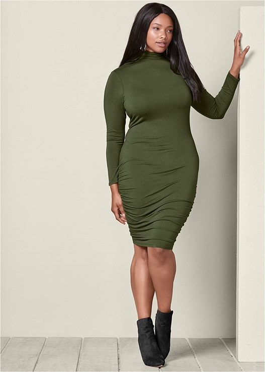 LONG SLEEVE RUCHED DRESS,FAUX SUEDE POINTY BOOTIES