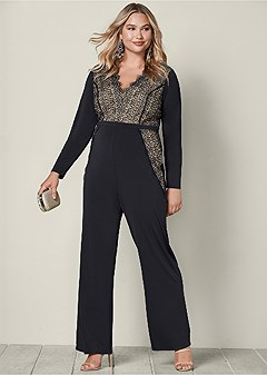 plus size lace detail jumpsuit