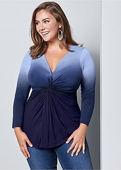 plus size ombre long sleeve knot top