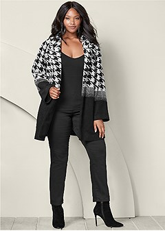 plus size print color block coat