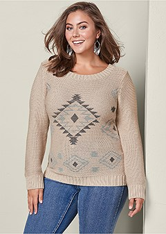 plus size pattern crewneck sweater