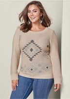 plus size pattern crewneck sweater