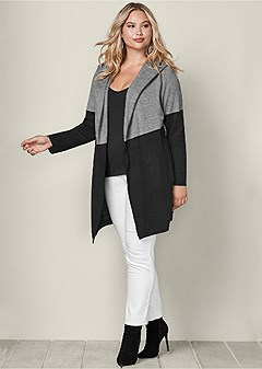 plus size color block hooded cardigan