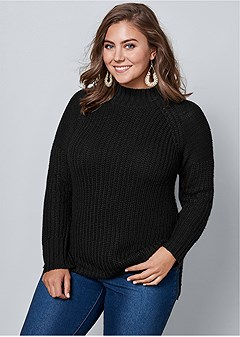plus size mock neck ribbed sweater