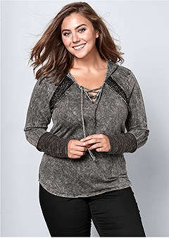 plus size mineral wash hoodie
