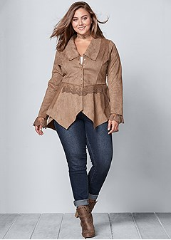 faux suede and lace jacket