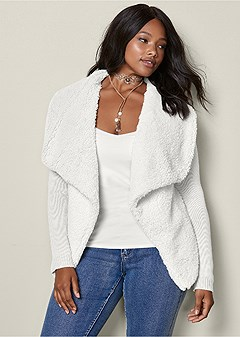 plus size shearling knit cardigan