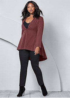 plus size long ruffle back blazer