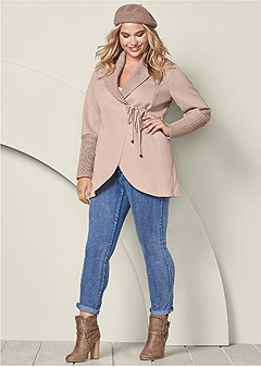 plus size wrap sweater detail coat