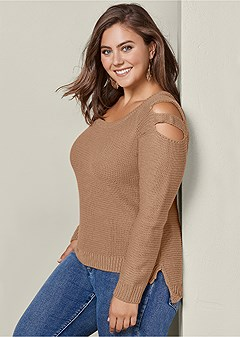 plus size cut out sleeve sweater