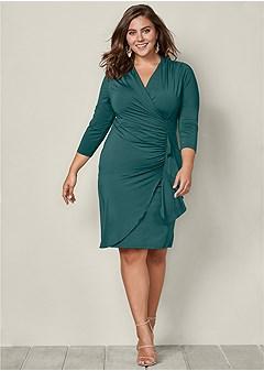 plus size side ruffle dress