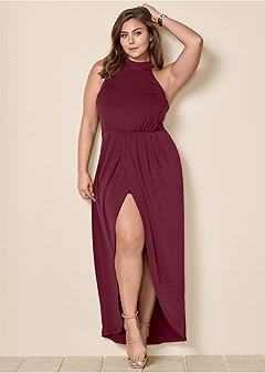 plus size long drape dress