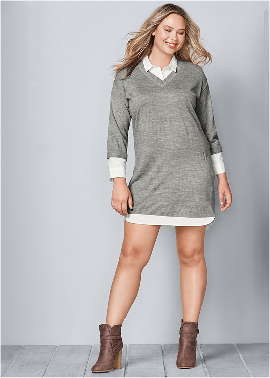 Plus Size Collar Detail Sweater Dress Venus