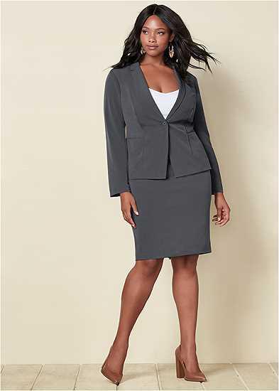 Plus Size Pencil Skirt Suit Set