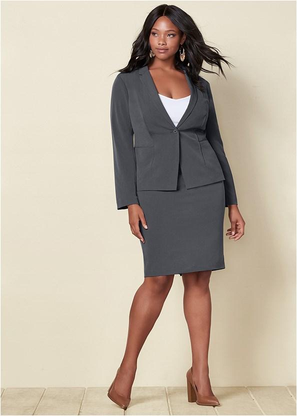 Pencil Skirt Suit Set,Beaded Crossbody,Studded Belt Bag