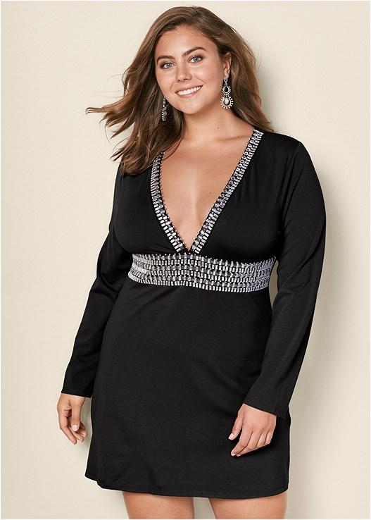 b98e5ef16fca Black DEEP V TRIM COCKTAIL DRESS from VENUS