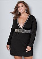 plus size deep v trim cocktail dress