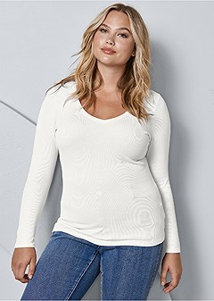plus size ribbed v-neck top