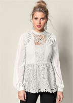 lace inset sheer sleeve top